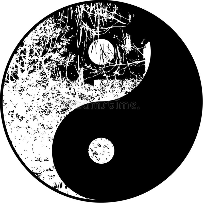 High res vector, Yin yang moonlight tree in black and white illustration in silhouette royalty free stock images