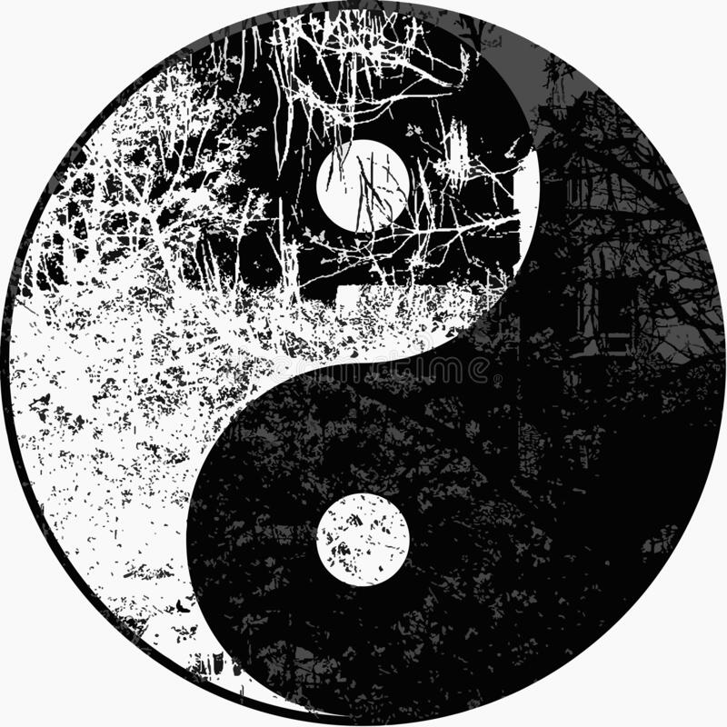 High res, Yin yang moonlight tree in black and white illustration in silhouette royalty free stock image