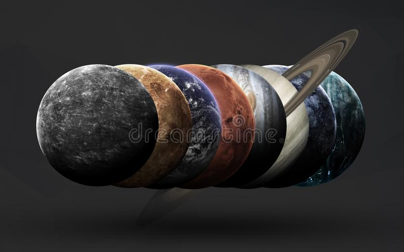 Space science fiction image. This image elements furnished by NASA. High resolution beautiful art presents planets of the solar system. Minimalistic style art on royalty free illustration