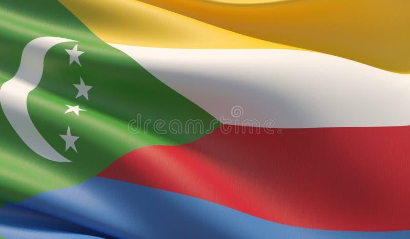 High resolution close-up flag of Comoros. 3D illustration. royalty free illustration