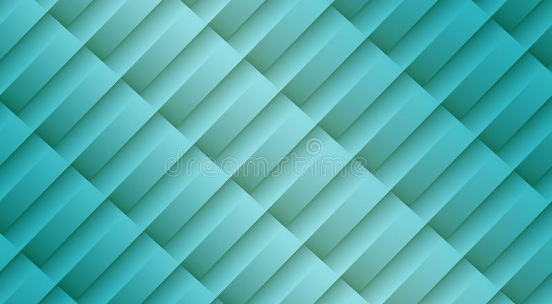 Fresh aqua blue diagonal 3d lines and bars geometric abstract pattern background royalty free illustration