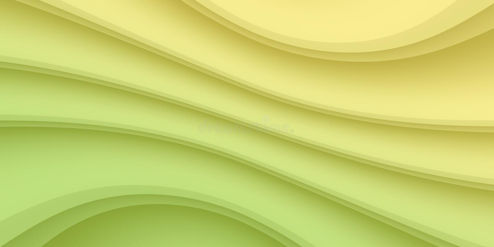 Pale yellow and green smooth flowing diagonal curves and lines vector abstract background illustration stock illustration
