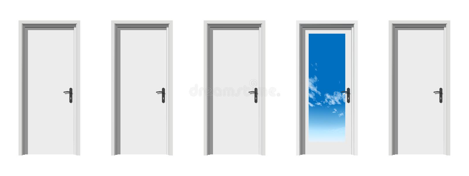Download High Resolution Conceptual 3d Doors In A Row Stock Illustration - Image: 17396592