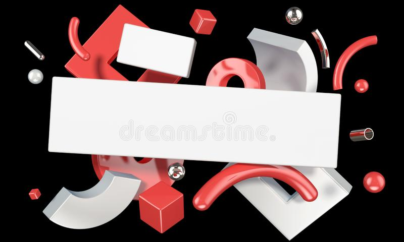 Abstract 3D composition with geometric objects and blank plank vector illustration