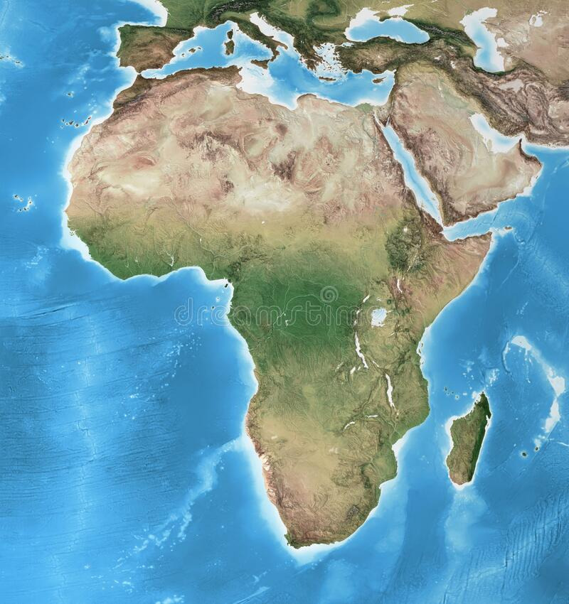 Free High Resolution Detailed Map Of Africa Stock Photo - 215604930