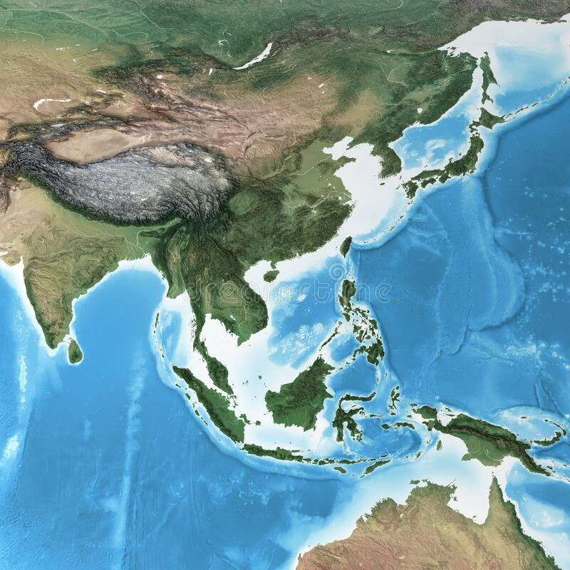 Free High Resolution Detailed Map Of South East Asia Royalty Free Stock Images - 217463369
