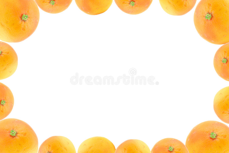 High resolution frame decorated with orange fruits royalty free stock photography