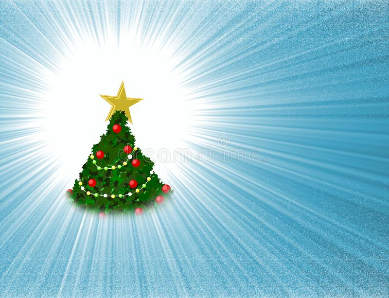 High resolution illustration of Merry Christmas Tree decorated with golden star and colour bulb lights on light blue supernova bac stock illustration