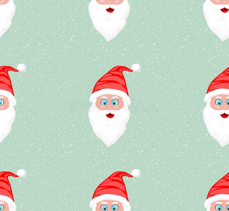 High Resolution illustration seamless pattern of Santa Claus face against snow flakes vector illustration