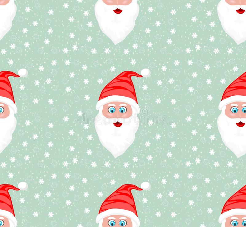 High Resolution illustration seamless pattern of Santa Claus face against snow flakes stock illustration