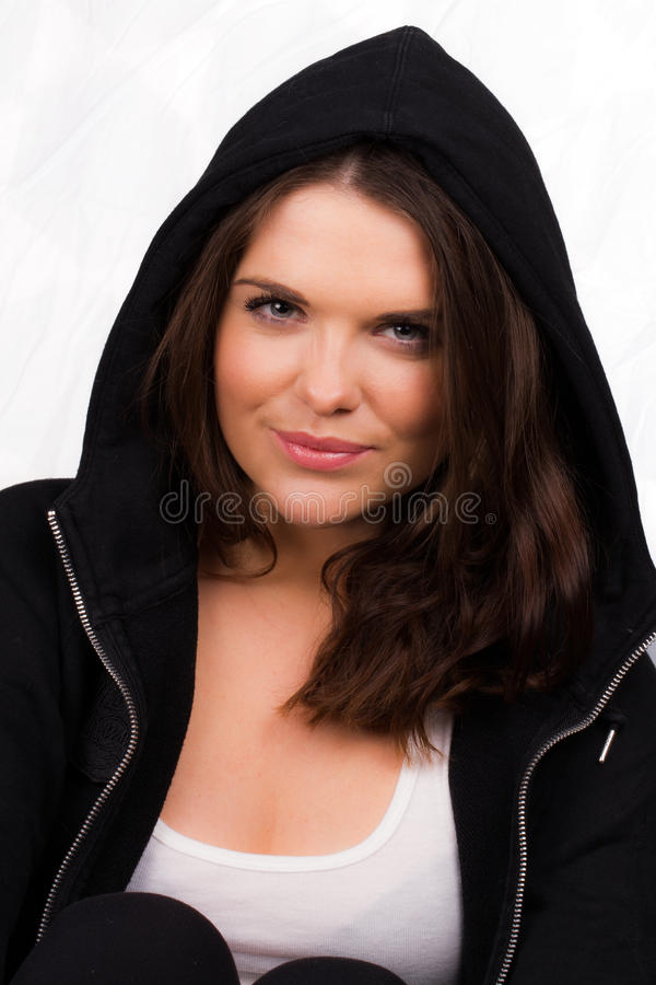 Download Beautiful Female Trainer With Hooded Jumper Stock Photo - Image: 30120638