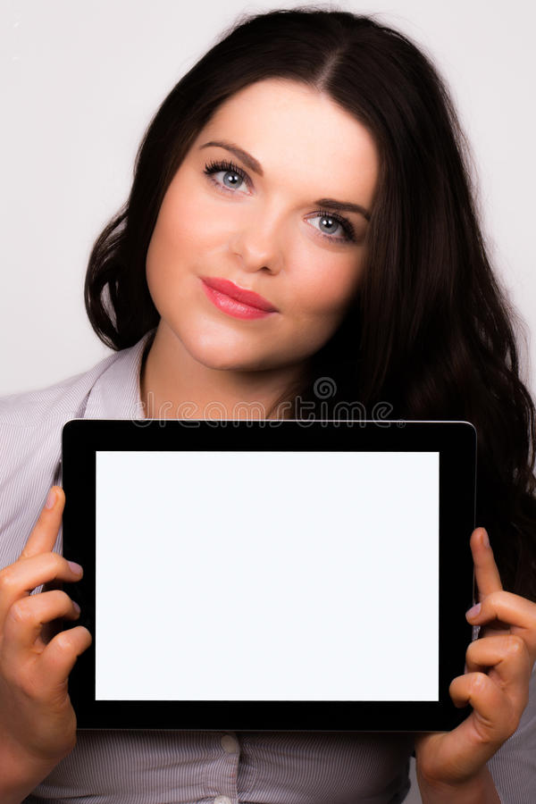 Download Beautiful Young Female Using An Ipad Tablet Device Stock Photo - Image of meeting, browsing: 30120608