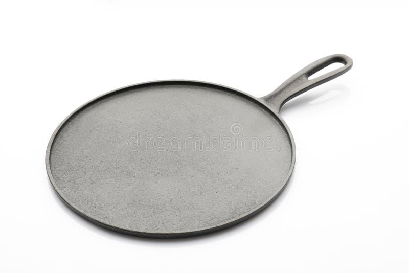 Seasoned Cast Iron Pan on White Background royalty free stock image