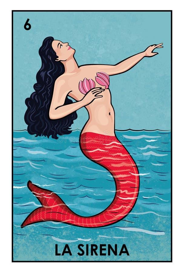Lotería Mexicana - La Sirena - High resolution image vector illustration