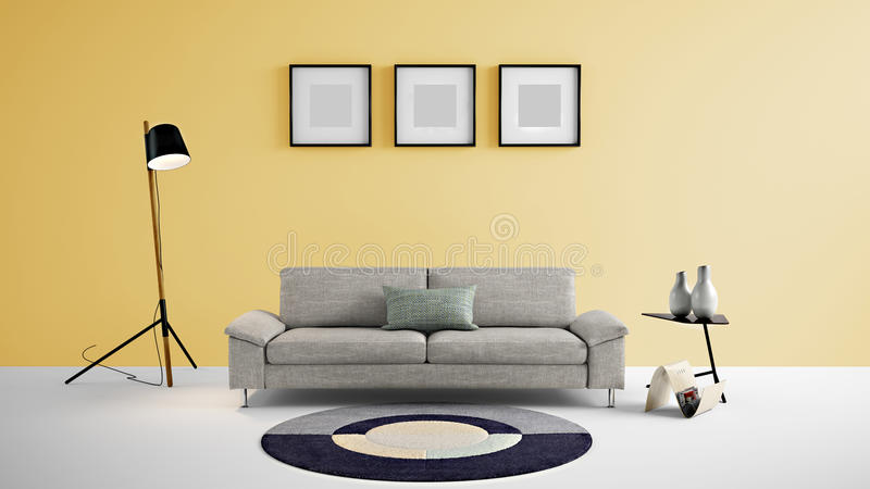 High Resolution Living Area 3d Illustration With Yellow Color Wall ...