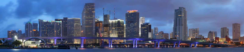 High Resolution Panorama, Downtown Miami Florida royalty free stock photography
