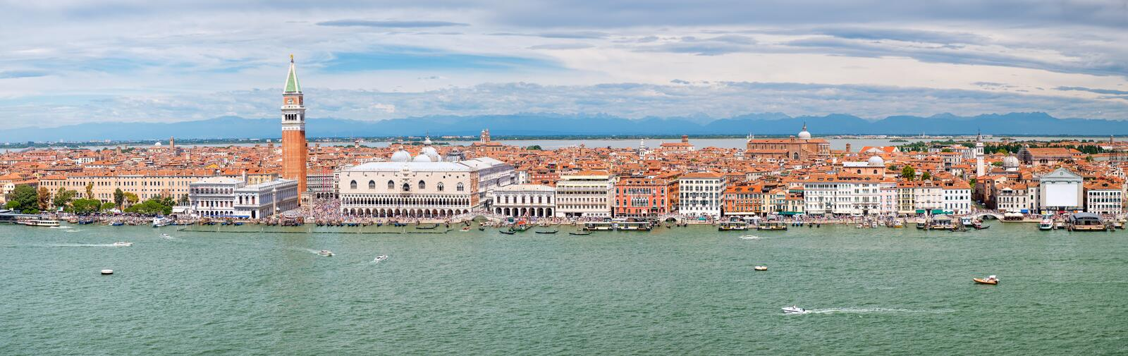 Panoramic view of the city of Venice including St Mark& x27;s Square and the Grand Canal. High resolution panoramic view of the city of Venice including St Mark stock image