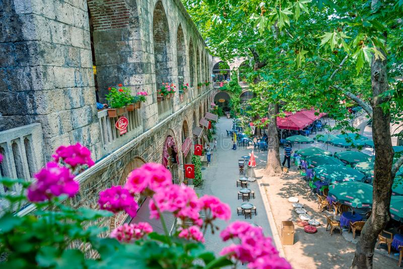 High resolution panoramic view of Koza Han(Silk Bazaar) in Bursa,Turkey. High resolution panoramic view of courtyard of historical Koza Han(Silk Bazaar) in Bursa stock photos