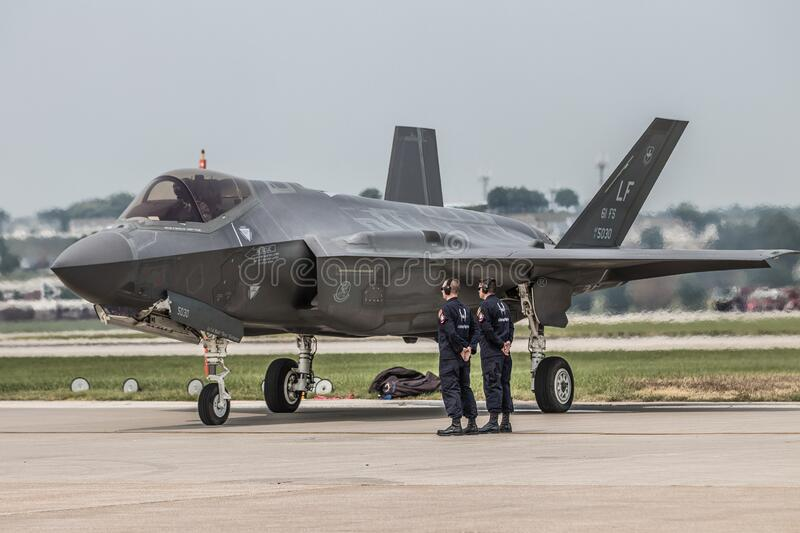 United States Air Force F35 Fighter Jet. High resolution photo of a United States Air Force F35 Fighter Jet at Offutt Air Force Base Nebraska stock photo