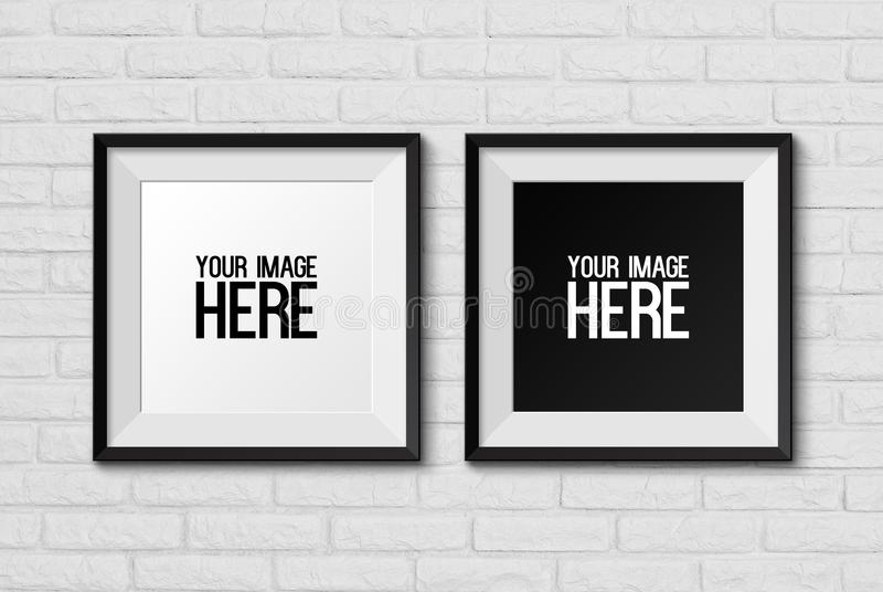 High resolution realistic square picture frame on white brick wa royalty free illustration
