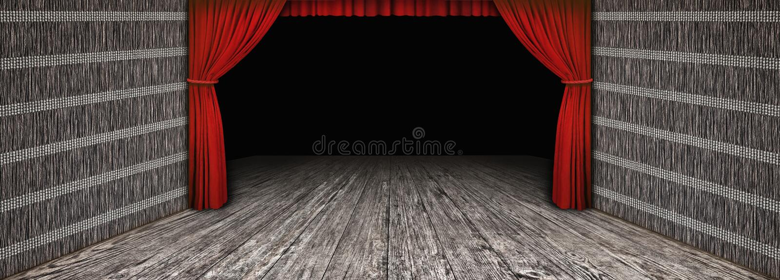 High resolution rustic wooden theater scenery with side folded red curtain and darkened empty stage.  vector illustration