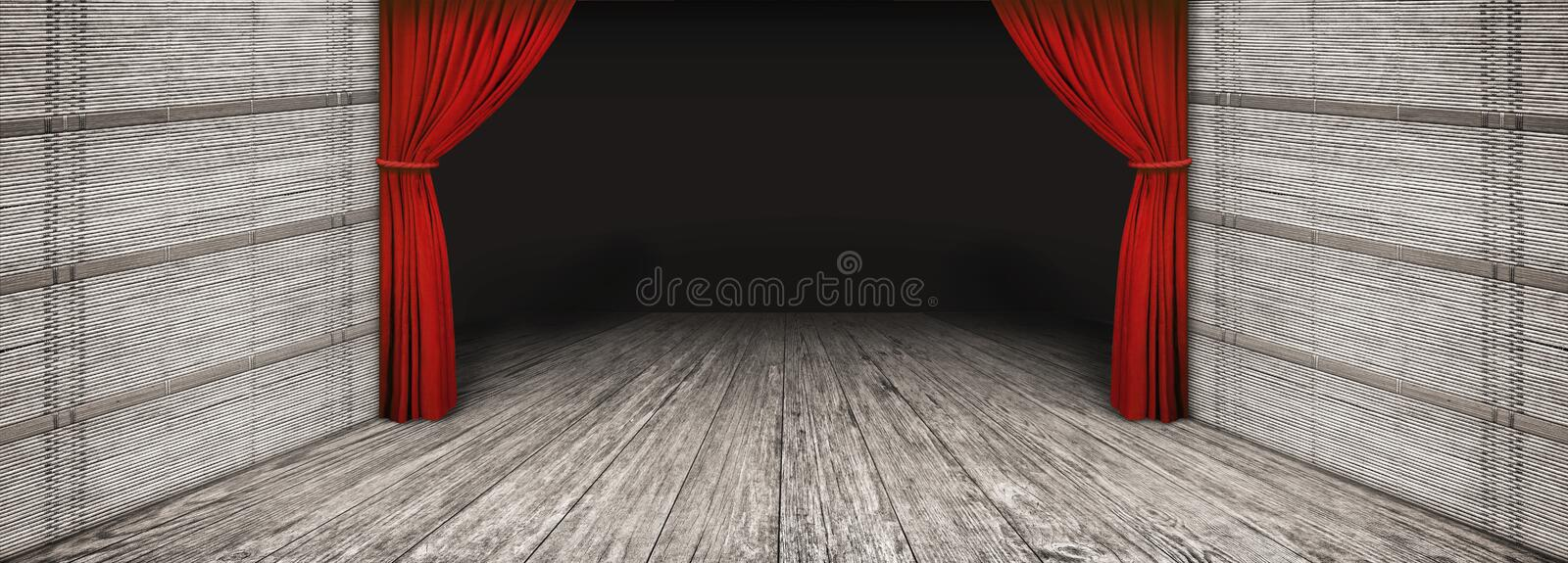 High resolution rustic wooden theater scenery with side folded red curtain and darkened empty stage.  stock illustration