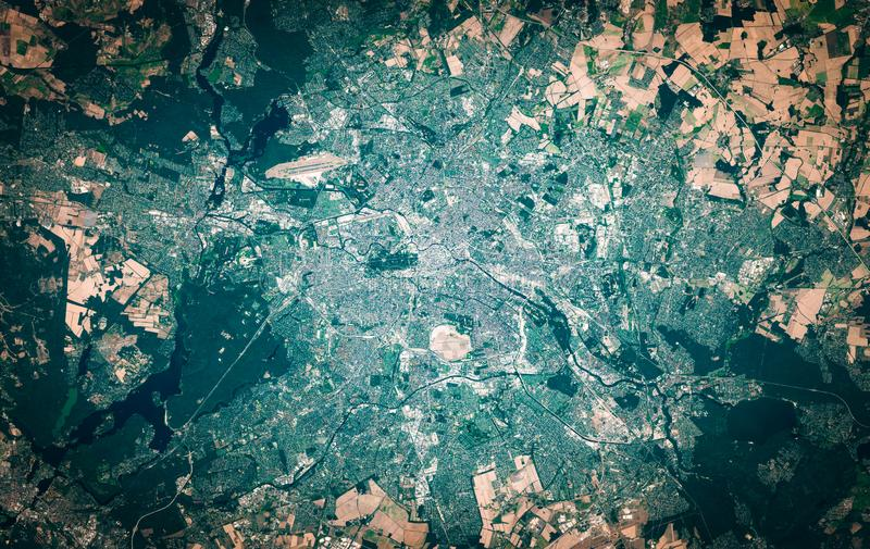 High resolution satellite image of Berlin, Germany, from above, aerial view, natural background map royalty free stock image