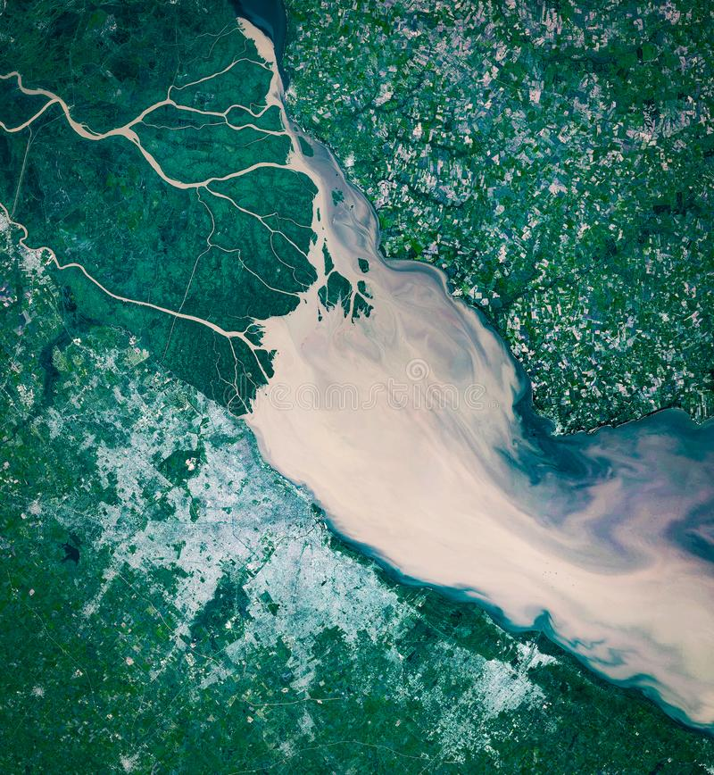 High resolution satellite image of Buenos Aires and Rio de la Plata from above, natural background map, aerial view royalty free stock photography