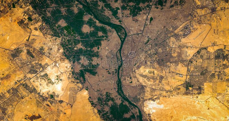 High resolution satellite image of Cairo city and nile river delta from above, Egypt stock photos