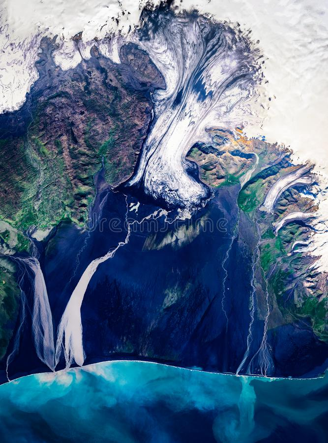 High resolution satellite image of calving Vatnajökull glacier, Iceland, from above, aerial view stock photo