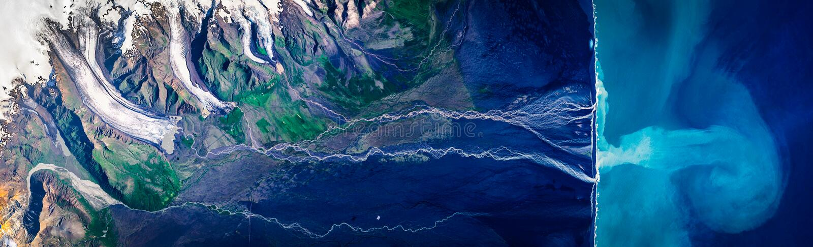 High resolution satellite image of calving Vatnajökull glacier, Iceland, from above, aerial view royalty free stock photo