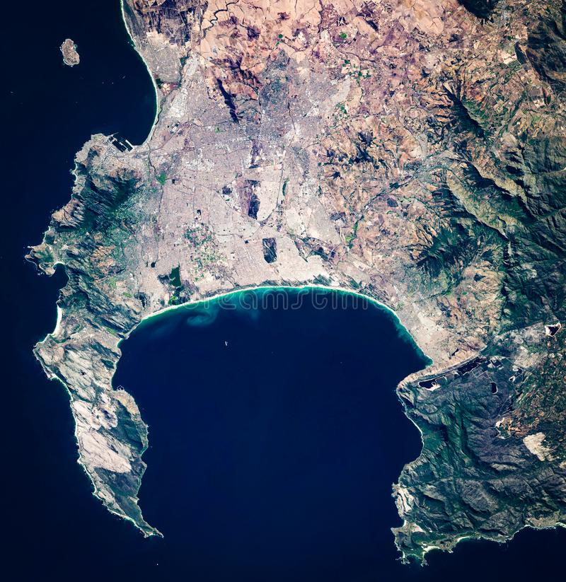 High resolution satellite image of Cape Town, South Africa, from above, aerial view stock image