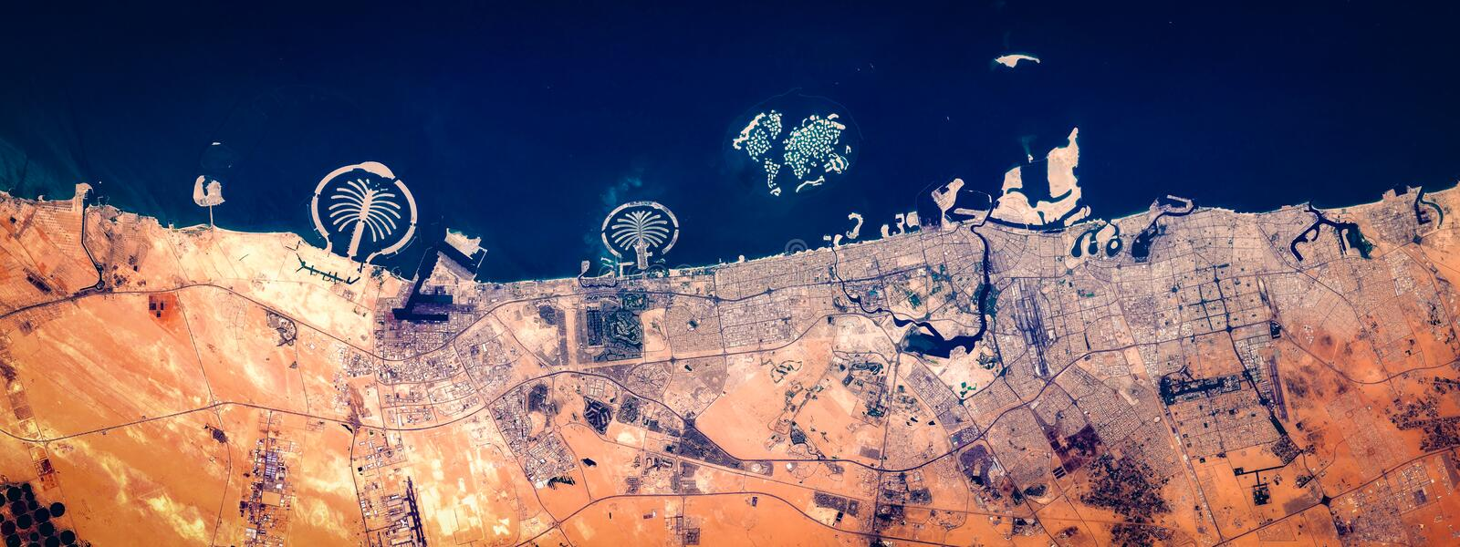High resolution satellite image of Dubai, coast from above, United Arab Emirates, aerial view stock images