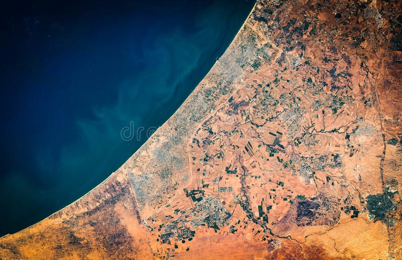 High resolution satellite image of Gaza Strip and Gaza city from above, aerial view, natural background map stock photography