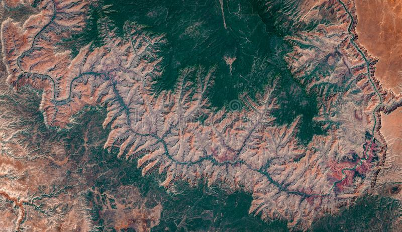High resolution satellite image of Grand Canyon national park, Arizona, US, natural background map, aerial view stock photos