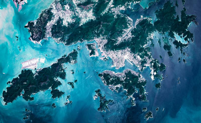 High resolution satellite image of Hong Kong metropolitan area from above, aerial view royalty free stock images