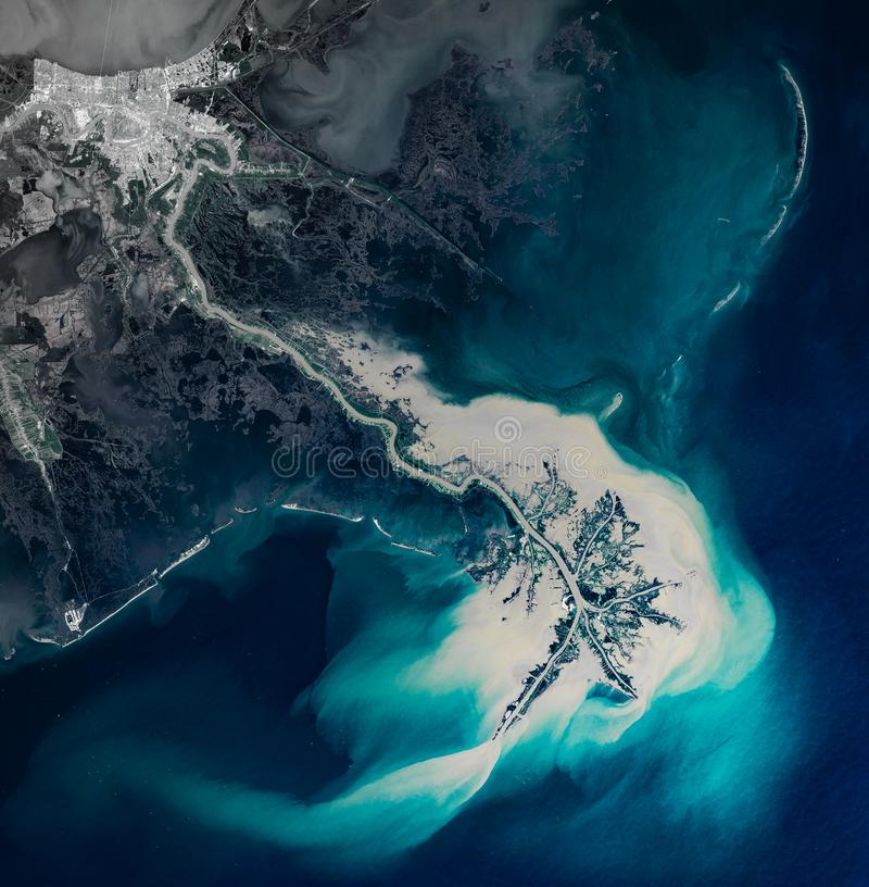 High resolution satellite image of New Orleans and Mississippi river delta from above royalty free stock photography