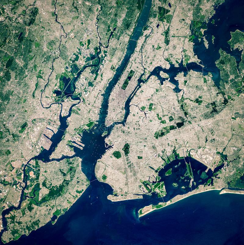 High resolution satellite image of New York City and New Jersey from above, United States, full view, aerial view. City background map, contains modified stock images