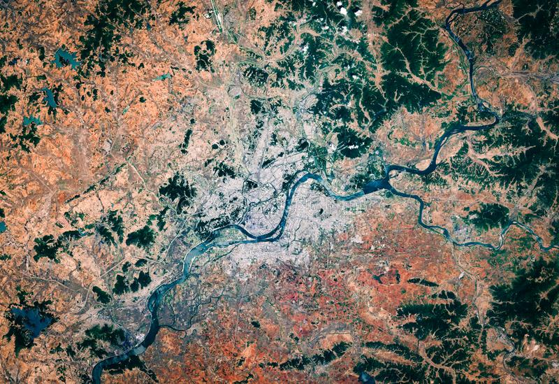 High resolution satellite image of Pyongyang, North Korea, Democratic People`s Republic of Korea, aerial view royalty free stock photography