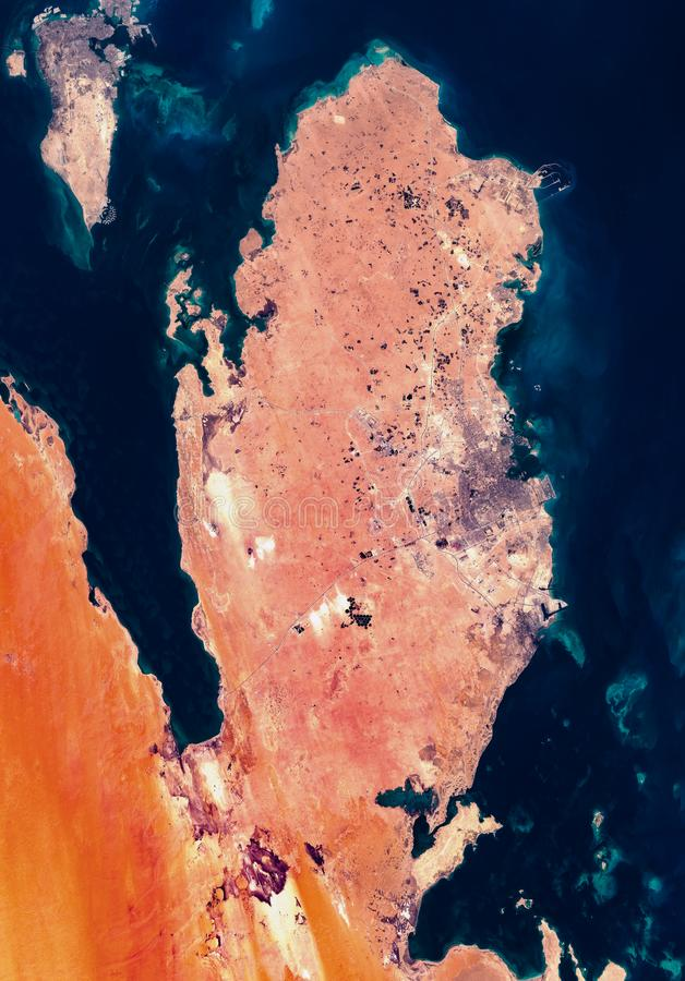 High resolution satellite image of Qatar and Bahrain from above, background map, aerial full view royalty free stock image
