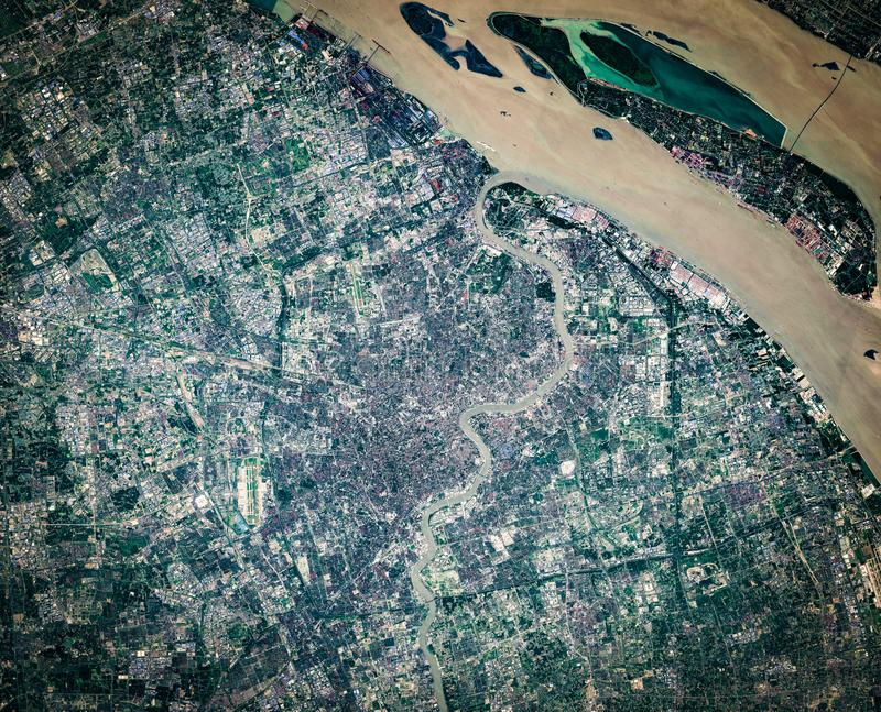 High resolution satellite image of Shanghai metropolitan area, China, aerial view, background map stock photography