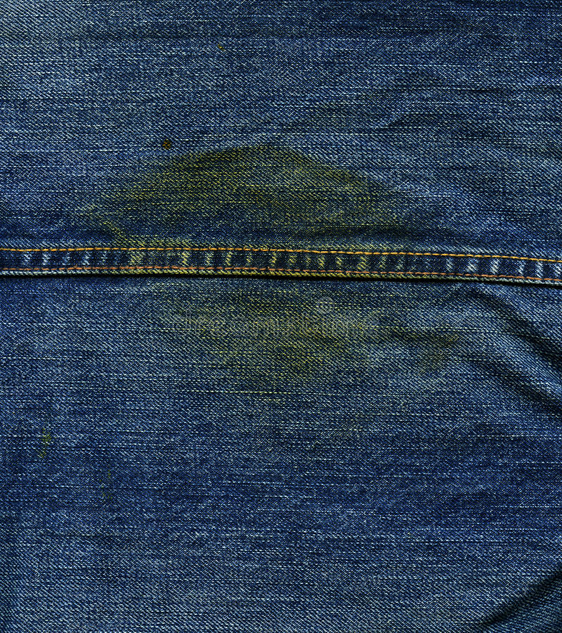 Denim Fabric Texture - with Seam & Stain royalty free stock photography
