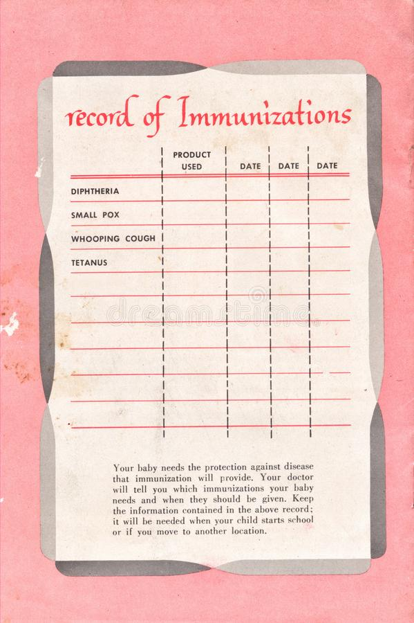 High Resolution Scan of an Old Immunization Record from 1954 stock images