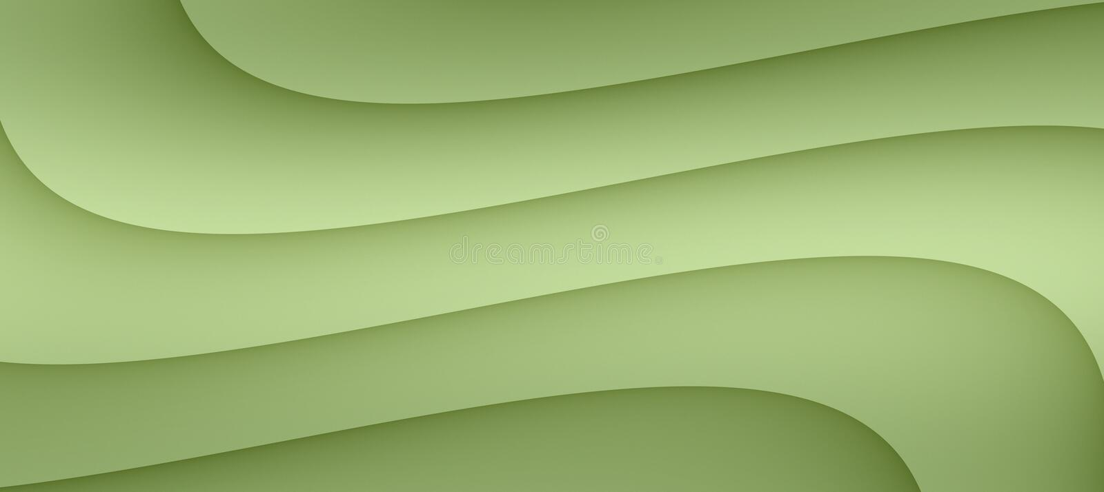 High resolution smooth flowing curves abstract background illustration in shades of muted pale moss green. High resolution computer generated abstract background stock illustration