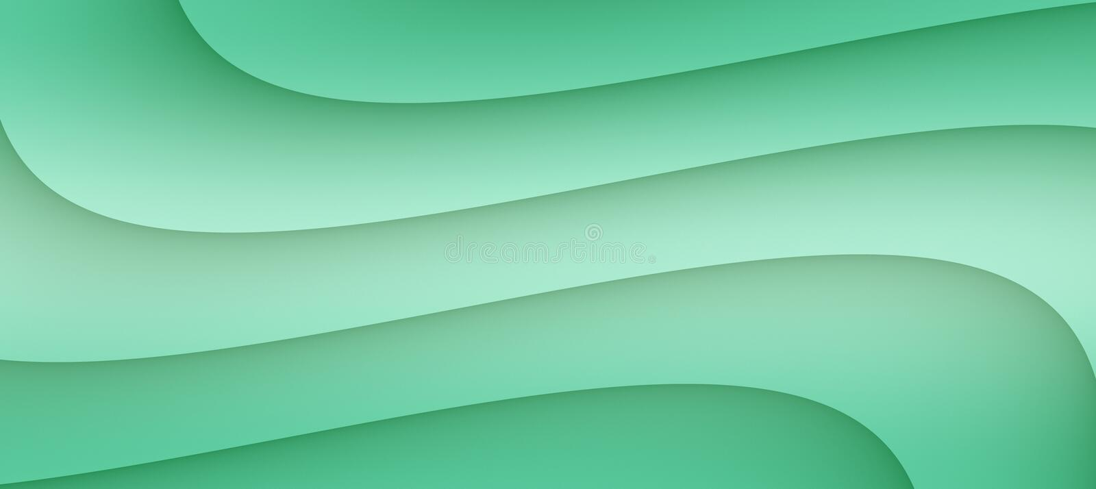 High resolution smooth flowing curves abstract background illustration in shades of refreshing sea green royalty free illustration