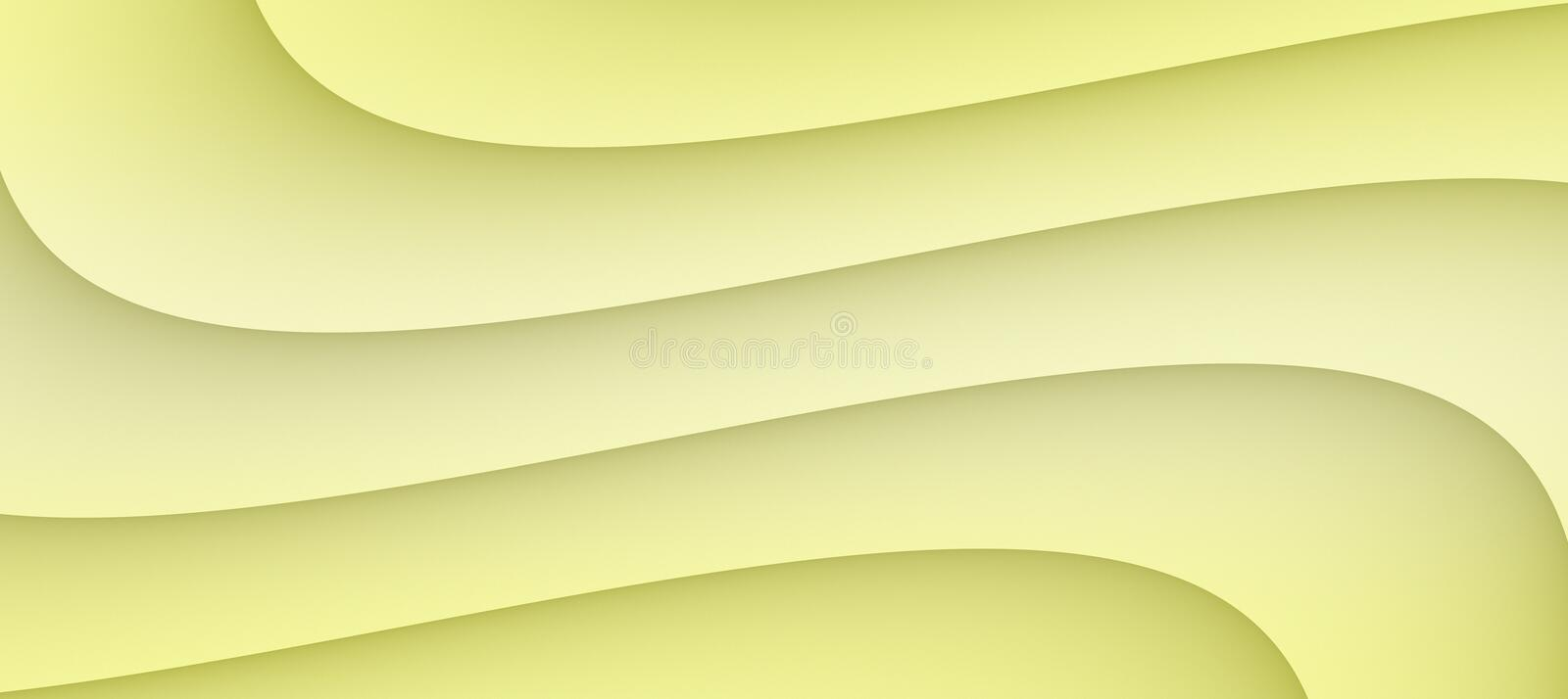 High resolution smooth flowing curves abstract background illustration in shades of soft pale yellow royalty free illustration
