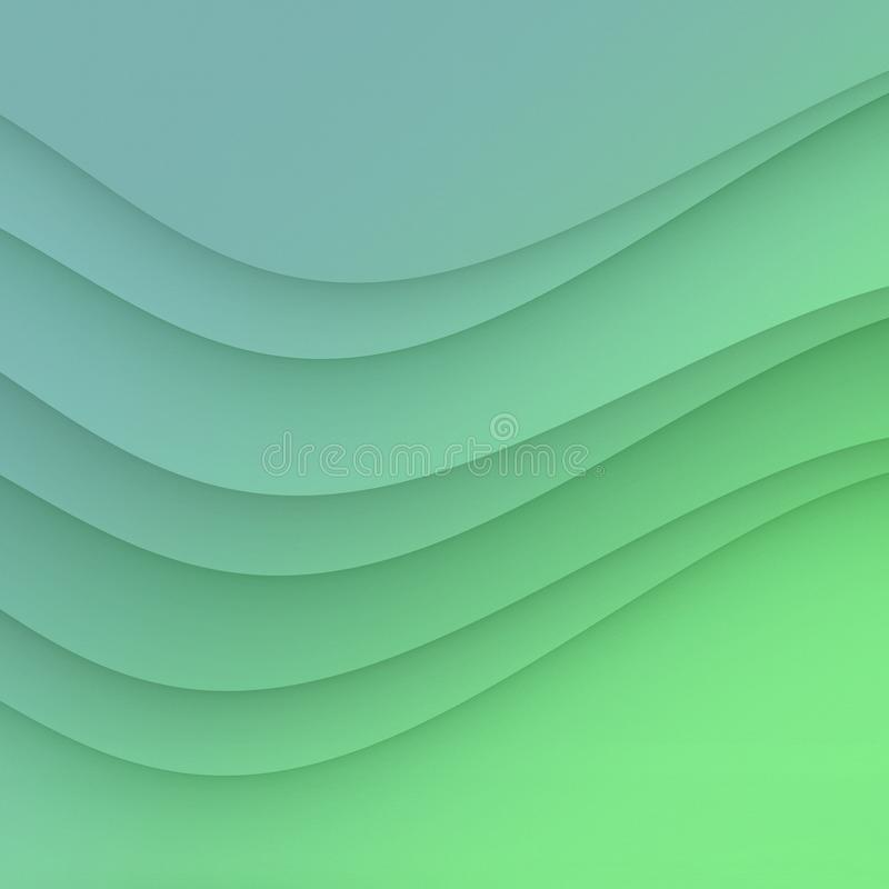 High resolution blue green smooth curves abstract background illustration. High resolution smooth sea blue and ocean green curves create a refreshing, elegant stock illustration