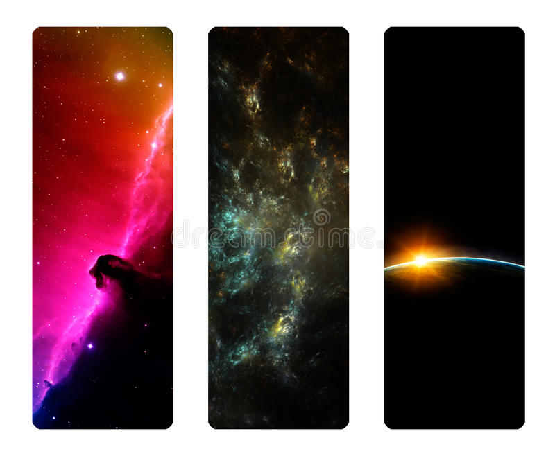 High resolution Space Bookmark Set royalty free stock photos