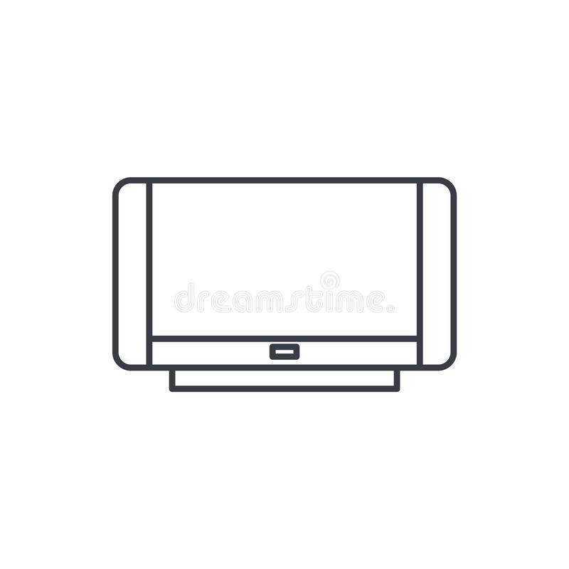 High resolution tv thin line icon. Linear vector symbol. High resolution 4k tv thin line icon. Linear vector illustration. Pictogram isolated on white background stock illustration