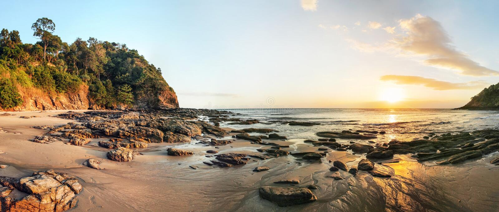 High resolution wide panorama of sunset on Koh Lanta stock images